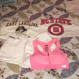 2 T-shirts and a pair of shorts with a sports bra